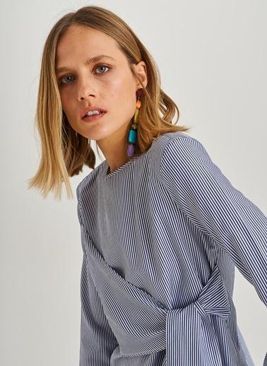 People By Fabrika Bağlama Detaylı Gömlek Lacivert